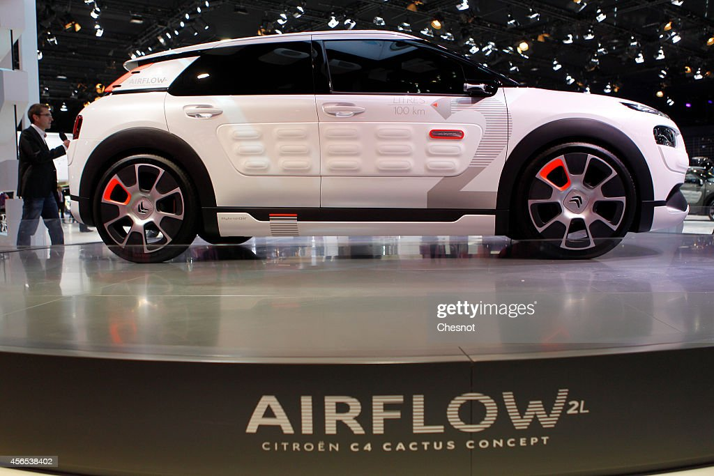 A Citroen C4 cactus concept car produced by PSA is presented during the press day of the Paris Motor Show on October 02, 2014, in Paris, France. The Paris Motor Show will showcase the latest models from the auto industry's leading manufacturers at the Paris Expo exhibition centre.