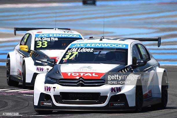 Citroen drivers Argentina's JoseMaria Lopez and China's Ma Qing Hua compete in the FIA World Touring Car Championship in Le Castellet southern France...