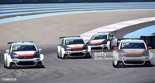 Citroen drivers Yvan Muller JoseMaria Lopez Ma Qing Hua and Sebastien Loeb compete in the FIA World Touring Car Championship in Le Castellet southern...