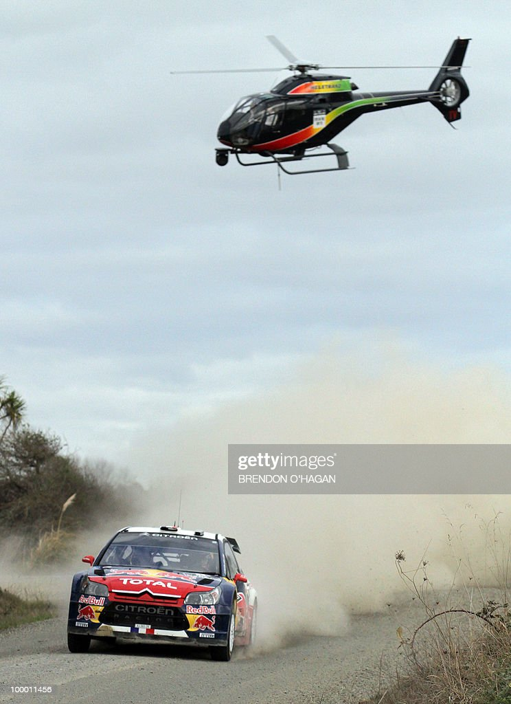 Citroen Total driver Sebastien Loab of France and co driver Daniel Elena drive during day 1 of the rally of New Zealand in Auckland on May 7, 2010. Rally of New Zealand gets underway with Finnish driver Mikko Hirvonen hoping to close the gap on defending world champion Sebastien Loeb, who has won the last three lega of the championship. AFP PHOTO/Brendon O
