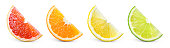 Citrus fruit. Orange, lemon, lime, grapefruit. Slices isolated on white background. Collection.