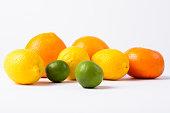 Citrus Fruits Against White Background Horizontal Shot