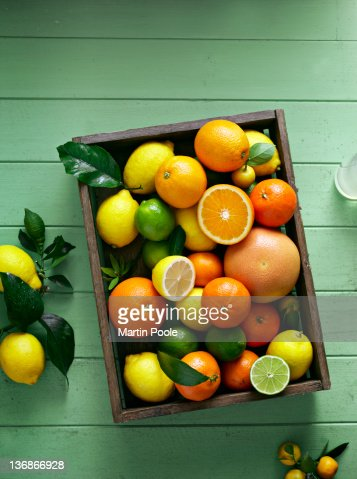 citrus fruits overhead in tray