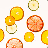 Citrus fruits. Variety concept. Healthy food. Abstract art. Flat lay style. Top view. Minimalistic style. Square