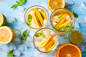 refreshing cold citrus water with mint.top view