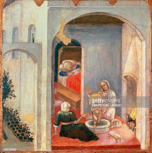 Città Del Vaticano Vatican Museums Picture Gallery The birth of St Nicholas a panel from the predella of the Quaratesi Polyptych by Gentile da...