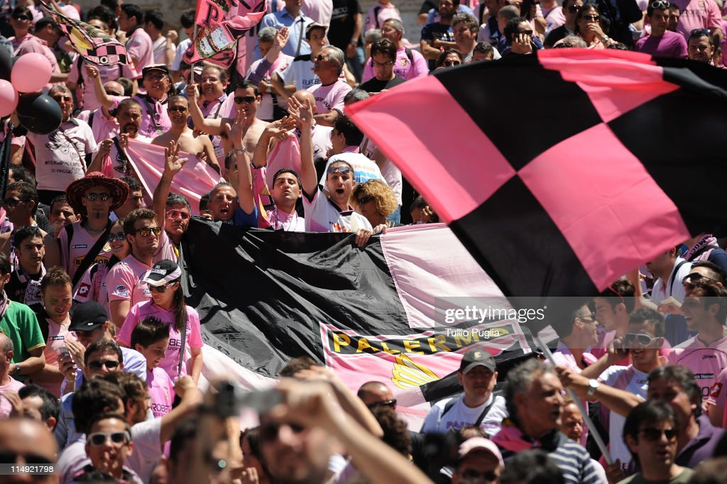 Citta di Palermo fans gather at Piazza di Spagna before the Coppa Italia final between US Citta di Palermo and FC Internazionale Milano on May 29...