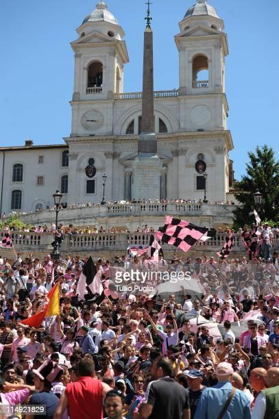 Citta di Palermo fans gather at Piazza di Spagna before the Coppa Italia final between US Citta di Palermo and FC Internazionale Milano on May 29...