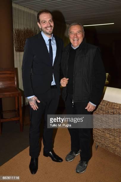 Citta' di Palermo new President Paul Baccaglini and President of Italian Senate Pietro Grasso pose before the Serie A match between US Citta di...