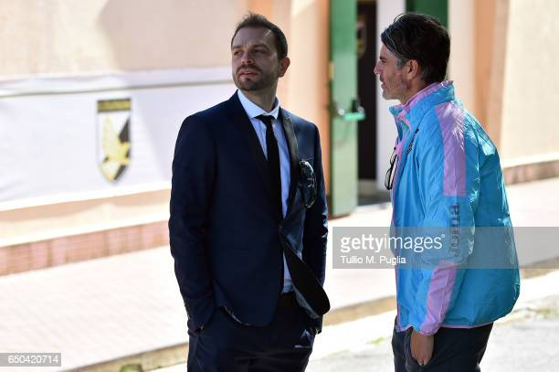 Citta' di Palermo new President Paul Baccaglini speaks with head coach Diego Lopez before a training session at Carmelo Onorato training center on...