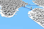 A New York City inspired 3D city with skyscrapers water and bridges - aerial view.