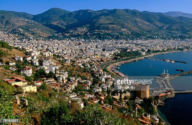 City and marina viewed from surrounding hillside, Alanya, Antalya, Turkey, Middle East
