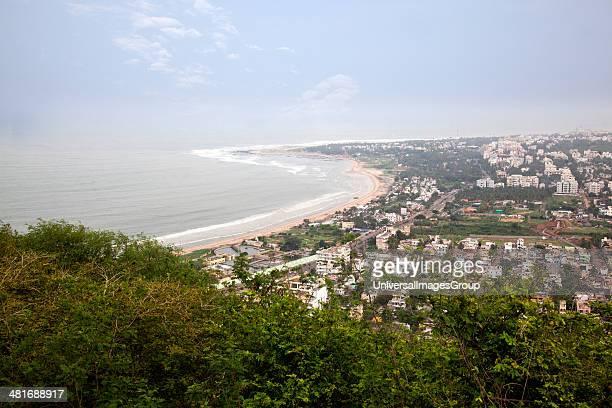 City and the coastline viewed from Kailasagiri Park Visakhapatnam Andhra Pradesh India