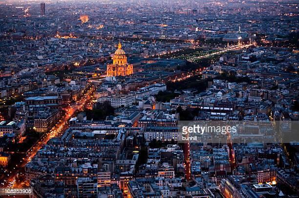 Ville à Vue aérienne de nuit-vue sur Paris pour Les Invalides
