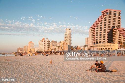 City beach at sunset, Tel Aviv, Israel