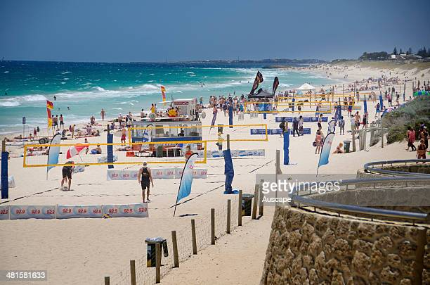 City Beach on a fine day with patrolled area marked by flags Perth Western Australia