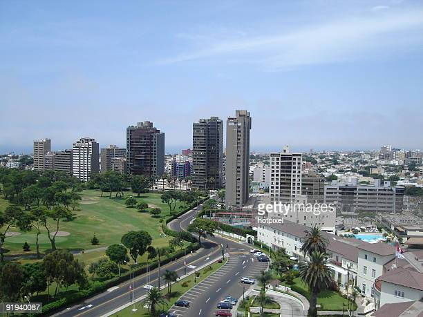 City buildings in San Isidro with highway