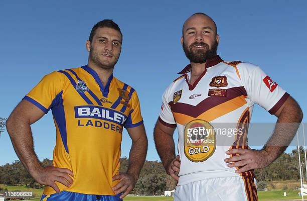 City captain Robbie Farah and Country captain Glenn Stewart pose during a City v Country Origin Captains Call at Lavington Sports Ground on May 5...
