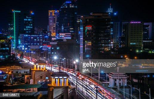 City center at night