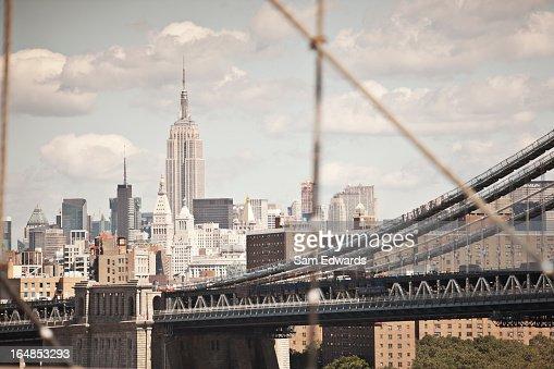 City cityscape and urban bridge : Stock Photo