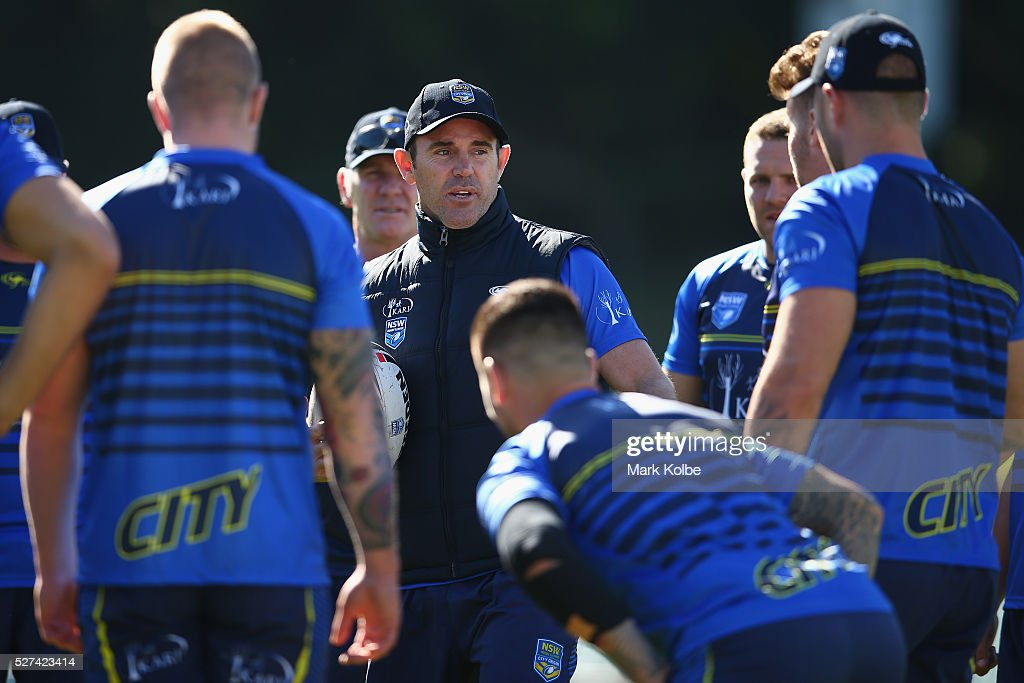City coach <a gi-track='captionPersonalityLinkClicked' href=/galleries/search?phrase=Brad+Fittler&family=editorial&specificpeople=206373 ng-click='$event.stopPropagation()'>Brad Fittler</a> speaks to his players during a City NSW Origin training session at Leichhardt Oval on May 3, 2016 in Sydney, Australia.