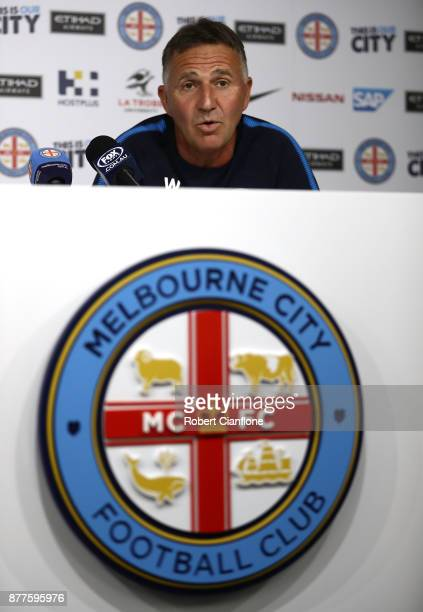 City coach Warren Joyce speaks to the media during a Melbourne City ALeague press conference at City Football Academy on November 23 2017 in...