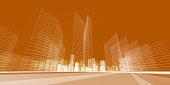 City concept. City construction building 3d rendering
