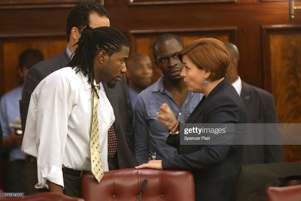 City Council member <a gi-track='captionPersonalityLinkClicked' href=/galleries/search?phrase=Christine+Quinn&family=editorial&specificpeople=550180 ng-click='$event.stopPropagation()'>Christine Quinn</a> (right) speaks with fellow member Jumaane Williams before voting on whether to bring a motion to the floor to override Mayor Michael Bloomberg's vetoes to establish an inspector general for the New York Police Department (NYPD) weeks after a federal judge ruled that the NYPD violated the civil rights of minorities with their stop-and-frisk policy on August 22, 2013 in New York City. U.S. District Court Judge Shira Scheindlin ordered a monitor to focus on stop-and-frisk, a policy she declared that the department has used in a manner that violated the rights of hundreds of thousands of black and Hispanic men. The city is appealing the ruling.