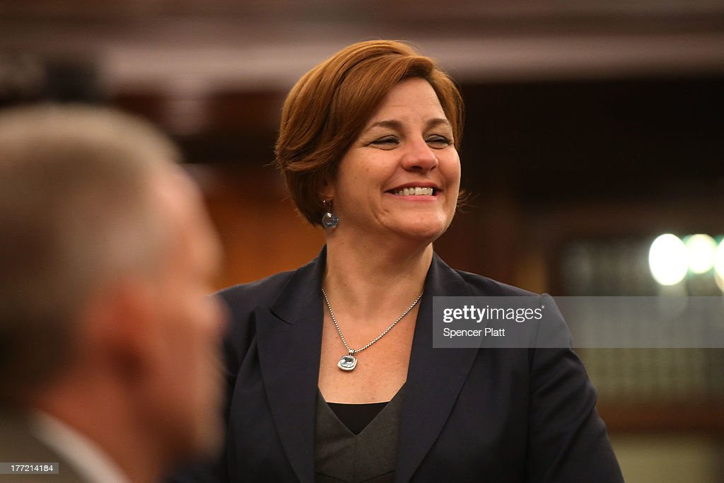 City Council member <a gi-track='captionPersonalityLinkClicked' href=/galleries/search?phrase=Christine+Quinn&family=editorial&specificpeople=550180 ng-click='$event.stopPropagation()'>Christine Quinn</a> votes with other members on whether to bring a motion to the floor to override Mayor Michael Bloomberg's vetoes to establish an inspector general for the New York Police Department (NYPD) weeks after a federal judge ruled that the NYPD violated the civil rights of minorities with their stop-and-frisk policy on August 22, 2013 in New York City. U.S. District Court Judge Shira Scheindlin ordered a monitor to focus on stop-and-frisk, a policy she declared that the department has used in a manner that violated the rights of hundreds of thousands of black and Hispanic men. The city is appealing the ruling.