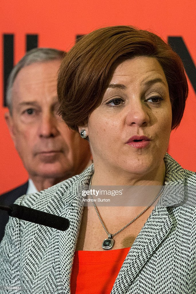 City Council Speaker and mayoral candidate Christine Quinn (R), and Mayor Michael Bloomberg speak at a press conference announcing new recommendations for building codes to make the city safer against future flooding and storms on June 13, 2013 in the Queens borough of New York City. Following Hurricane Sandy, in October, 2012, Bloomberg and Quinn commissioned a task force to review building codes and recommend new standards.