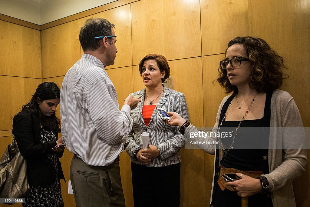 City Council Speaker and mayoral candidate Christine Quinn, speaks to members of the media after a press conference on June 13, 2013 in the Queens borough of New York City. Quinn spoke along side Mayor Michael Bloomberg at the press conference, announcing new recommendations for building codes. Following Hurricane Sandy, in October, 2012, Bloomberg and Quinn commissioned a task force to review building codes and recommend new standards.