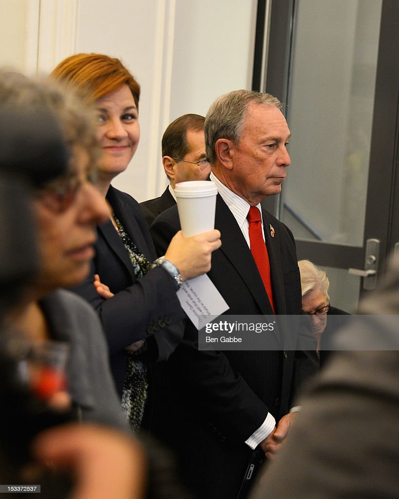 City Council Speaker Christine Quinn and Mayor Michael Bloomberg attend the Public Theater unveiling on October 4, 2012 in New York City.