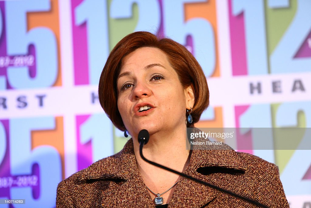 City Council Speaker <a gi-track='captionPersonalityLinkClicked' href=/galleries/search?phrase=Christine+Quinn&family=editorial&specificpeople=550180 ng-click='$event.stopPropagation()'>Christine Quinn</a> attends the Hearst 125th Anniversary press conference to announce Hearst Tower's new LEED Platinum status and the unveiling of a street sign temporarily renaming the company's global headquarters 'Hearst Place' at Hearst Tower on March 5, 2012 in New York City.