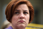 City Council Speaker Christine Quinn joins Democratic US Rep Carolyn B Maloney and former City Comptroller Bill Thompson at a news conference on the...