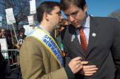 City Council Speaker Gifford Miller has a word for New Paltz Mayor Jason West at the Queens St Patrick's Day Parade on Skillman Ave in Sunnyside West...