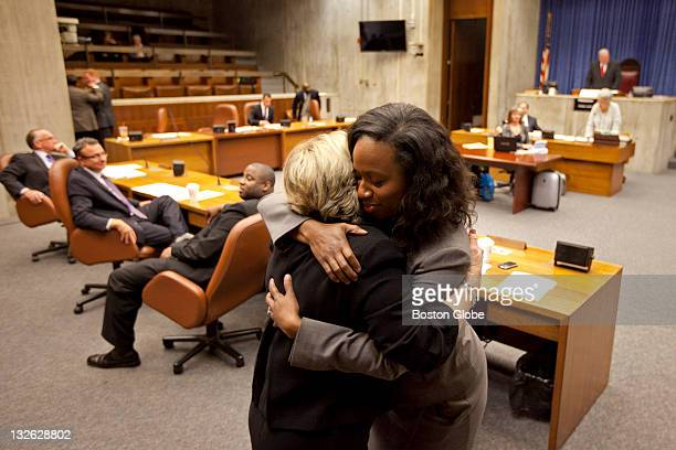 City Councillor Atlarge Ayanna Pressley greets city councillors and got a hug from councillor Maureen E Feeney as they congratulated her on her...