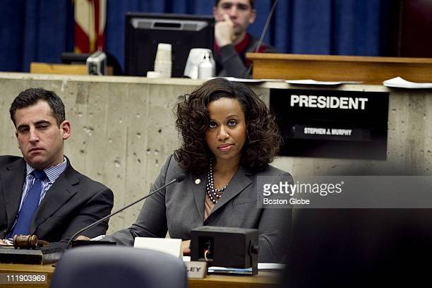 City Councilor AtLarge Ayanna Pressley and City Councilor Michael Ross watch Samantha Brea a student at Snowden International and a youth committee...