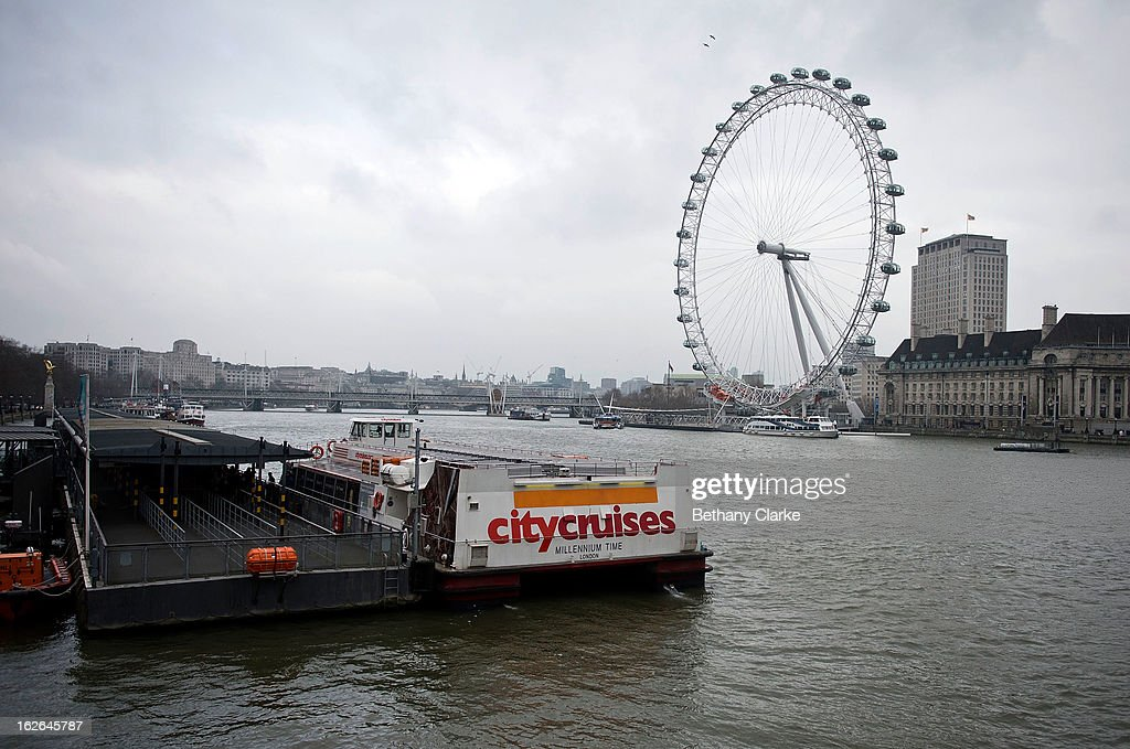 A City Cruises boat at Westminster Milennium Pier on February 25, 2013 in London, England. A £10 million boost to double the number of commuters travelling on the Thames over the next seven years was announced by Transport for London today.