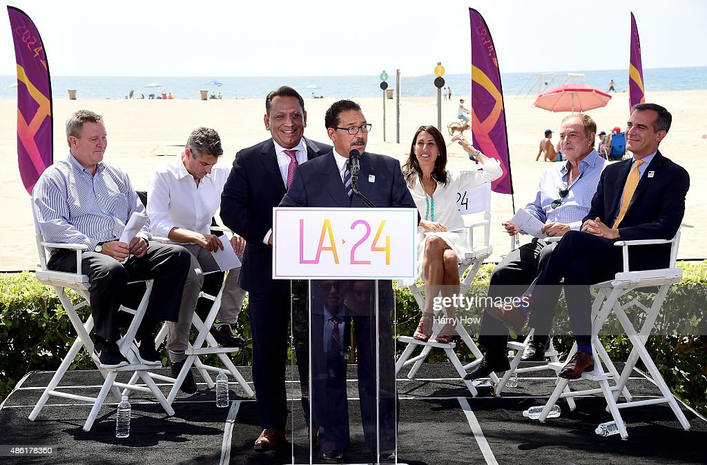 City Cuncil President Herb Wesson along with LA City Councilmember Gilbert Cedillo speak in front of USOC CEO Scott Blackmun LA 2024 Chairman Casey...