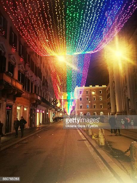 City Decorated With Christmas Light At Night