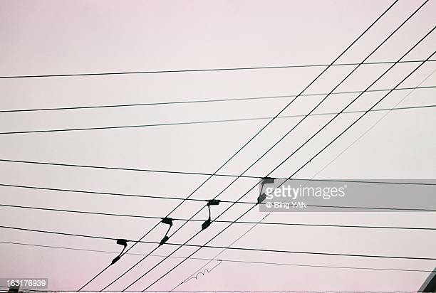City electricity wires crossing