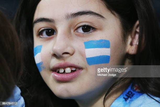 City fan shows her support during the round three ALeague match between Melbourne City and the Wellington Phoenix at AAMI Park on October 21 2017 in...