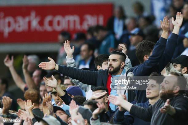 City fan shows his support during the round three ALeague match between Melbourne City and the Wellington Phoenix at AAMI Park on October 21 2017 in...