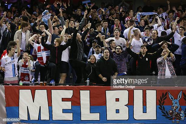 City fans celebrate a goal during the round two ALeague match between Melbourne Victory and Melbourne City FC at Etihad Stadium on October 17 2015 in...