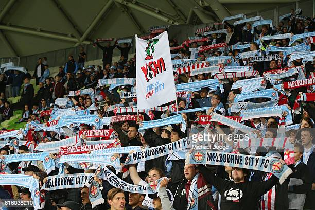 City fans show their support during the round three ALeague match between Melbourne City FC and Perth Glory at AAMI Park on October 21 2016 in...