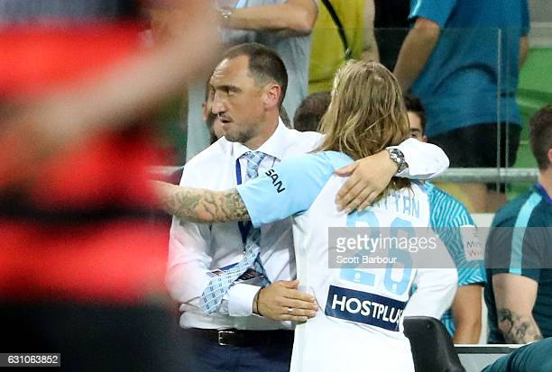 City FC interim coach Michael Valkanis celebrates with Luke Brattan of City FC after the round 14 ALeague match between Melbourne City FC and the...