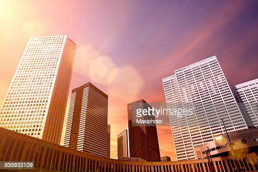 City financial district with skyscrapers at sunset : Stock Photo