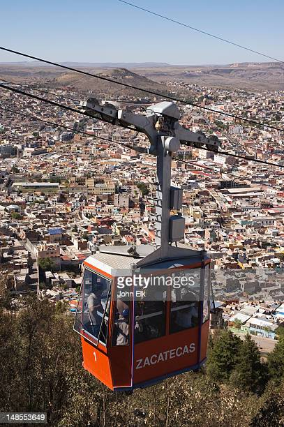 City from above with teleferico.