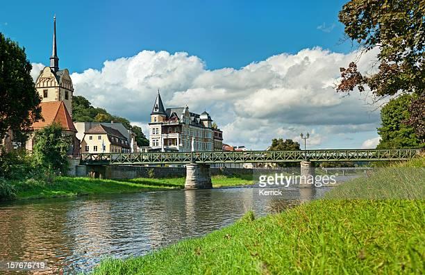 街のゲラ、ドイツ教会と Untermhaus 橋の街