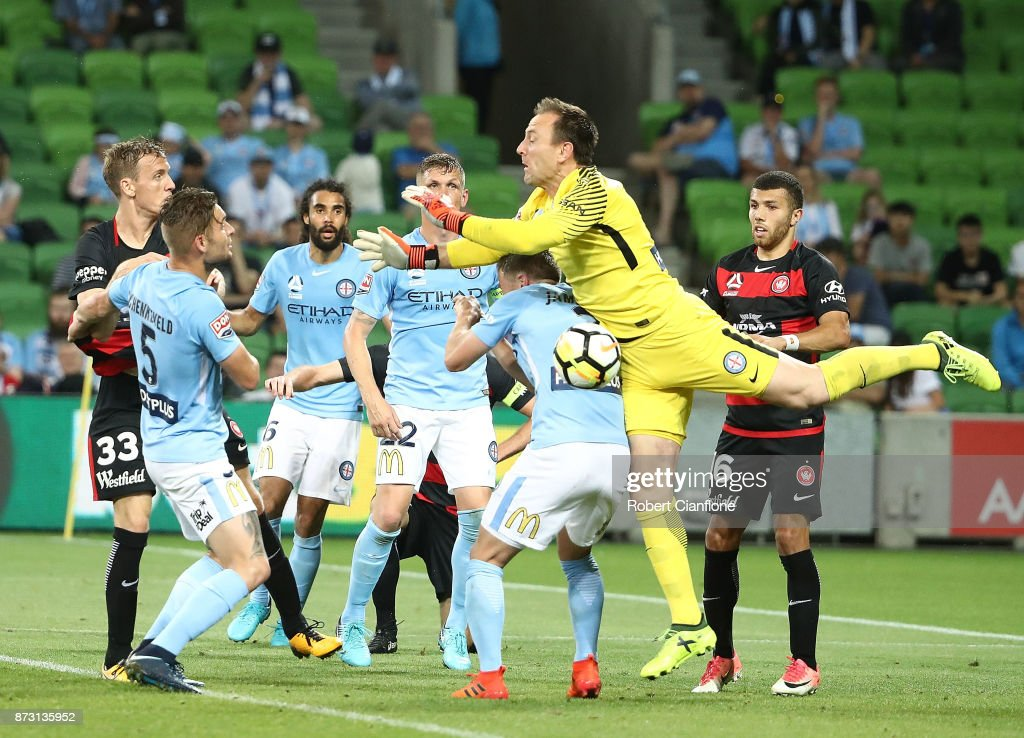 City goalkeeper Eugene Galekovic attempts to get the ball during the round six A-League match between Melbourne City and the Western Sydney Wanderers at AAMI Park on November 12, 2017 in Melbourne, Australia.